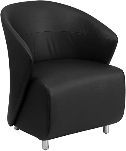 Flash Furniture Black LeatherSoft Curved Barrel Back Lounge Chair