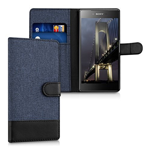 kwmobile Wallet Case for Sony Xperia Z5 Premium - Fabric and PU Leather Flip Cover with Card Slots and Stand - Dark Blue/Black
