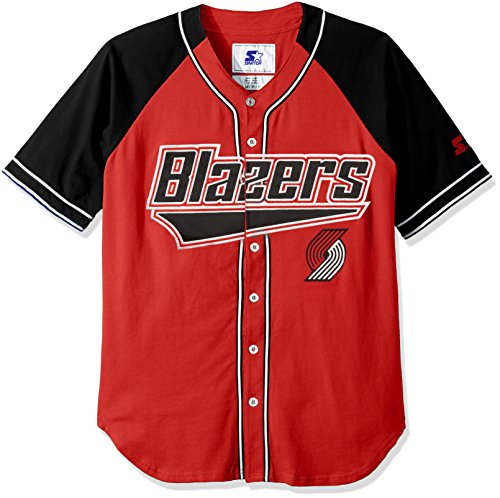 STARTER NBA Portland Trail Blazers Men's The Player Baseball Jersey, Large, Red