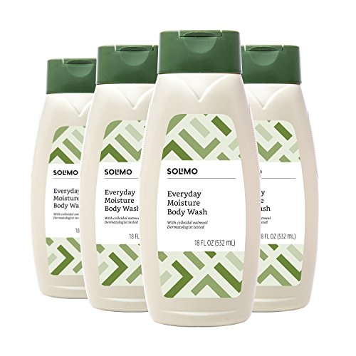 Amazon Brand - Solimo Everyday Moisture Body Wash with Colloidal Oatmeal, 18 Fluid Ounce (Pack of 4)