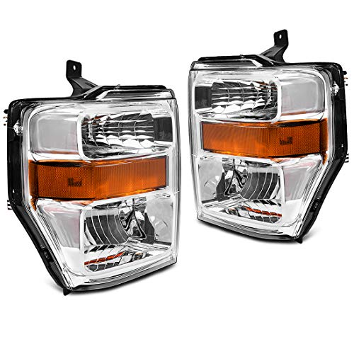 For 2008 2009 2010 Ford F250 F350 F450 Super duty Headlight Assembly,OE Projector Headlamp,Chrome Housing,One-Year Limited Warranty(Pair,7C3Z-13008BA,7C3Z-13008AA)