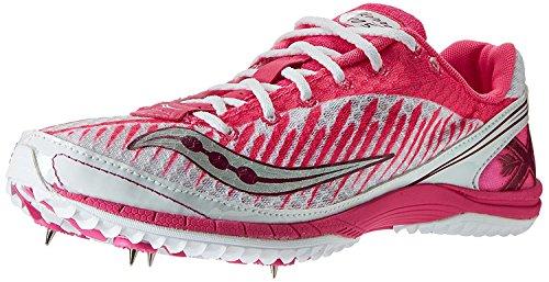Saucony Womens Kilkenny XC5 Spike Cross Country Spike Shoe, White/Vizi Pink, 40.5 B(M) EU/7 B(M) UK