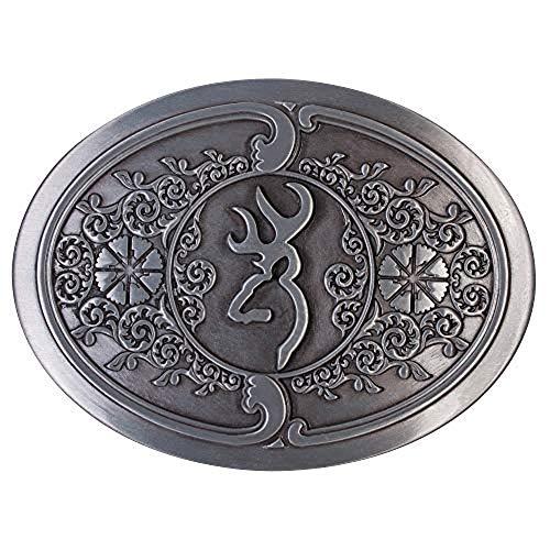 (Browning Embossed Metal Buckmark Logo Belt Buckle (Silver, 3
