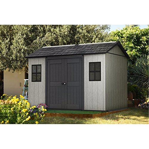Keter Oakland 11 ft. W x 7 ft. 6 in. D Plastic Storage Shed (7.5' Outdoor Storage Shed)