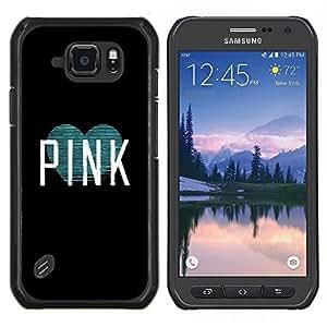 TECHCASE---Cubierta de la caja de protección para la piel dura ** Samsung Galaxy S6 Active G890A ** --rosa negro verde azulado texto menta corazón blanco