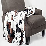 BNF Home BOON Animal Printed Double Sided Faux Fur Throw, Cows