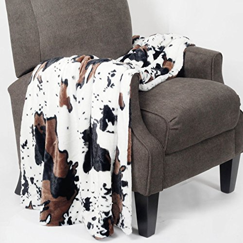 BOON Animal Printed Double Sided Faux Fur Throw, 60