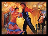 FRAMED La Pareja del Flamenco by Sharon Carson 24x17 Art Print Poster Abstract Painting Colorful Woman in Pink and Blue Dress Dancing with Partner Spanish Music