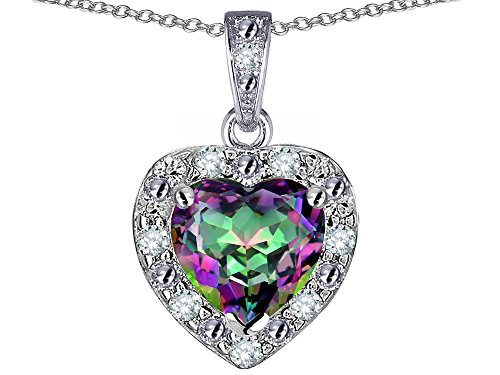 Star K 14k White Gold Heart Shape Rainbow Mystic Topaz Halo Pendant Necklace