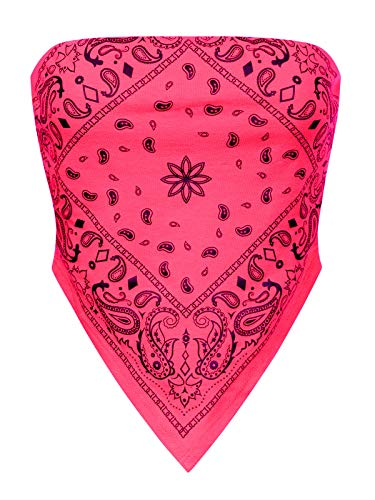 Design by Olivia Women's Sexy Paisley Bandana Tube Crop Top Shirt- Made in USA Neon Pink S
