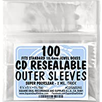 SquareDealOnline - CDSB02RS - Resealable CD Outer Sleeves - Holds 1 Jewel Box - Clear (100 sleeves)