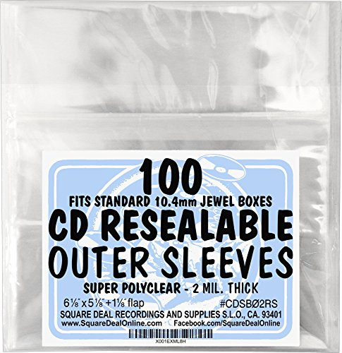SquareDealOnline - CDSB02RS - Resealable CD Outer Sleeves - Holds 1 Jewel Box - Clear (100 sleeves) ()