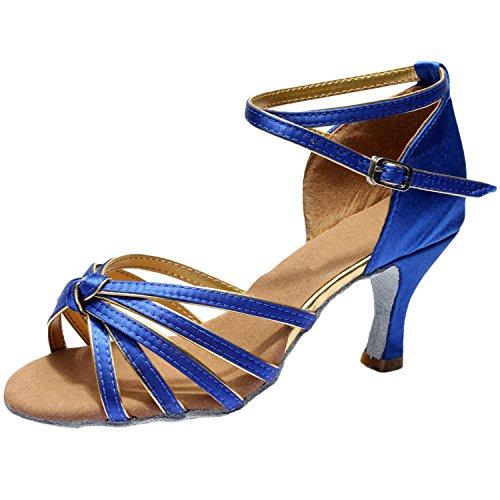Azbro Mujer Zapato de Baile Latín de Tacón Alto con Correa Cruzada Puntera Abierta Azul