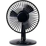 Firebox Audio&Video Small Oscillating USB Table Desktop Fan, 2 Speed, Metal Design, Quiet Operation, USB or Battery-Powered (Black)