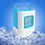 YOUDirect Personal Space Air Cooler Small Fan, USB Portable Mini Air Conditioner Fan, Mini Desktop Fan Table Fan Handled Fan with LED Light (Blue)