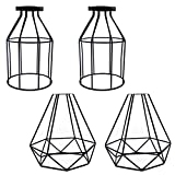 Industrial Cage Lamp Shade, Motent 4pcs / Lot Vintage Black Metal Pendant Lampshade 7.8 inches Height Birdcage Ceiling Hanging Lights Fixture For Bar Loft Kitchen Wall Sconce Replacement - Couple D