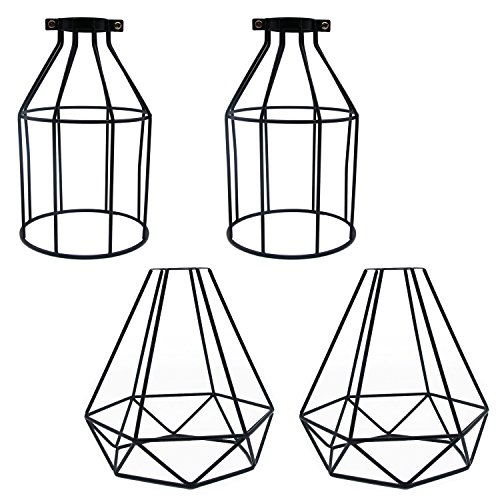 Industrial Cage Lamp Shade, Motent 4pcs / Lot Vintage Black Metal Pendant Lampshade 7.8 inches Height Birdcage Ceiling Hanging Lights Fixture For Bar Loft Kitchen Wall Sconce Replacement - Couple D by MOTENT