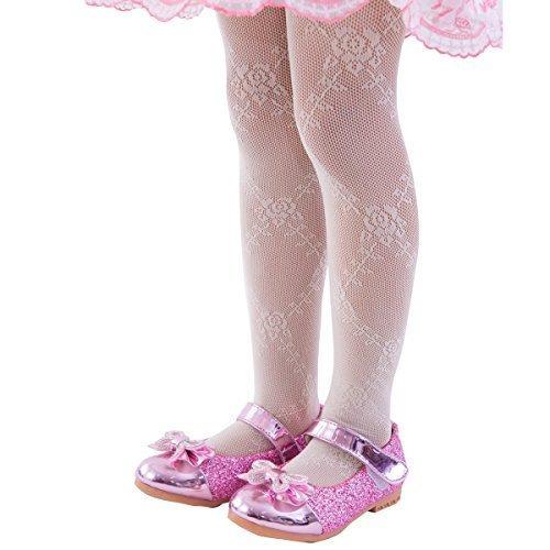 Rose Stocking - FUN fun lace fishnet tights(Rose pattern) Kids Girls; Cream 34-53inch