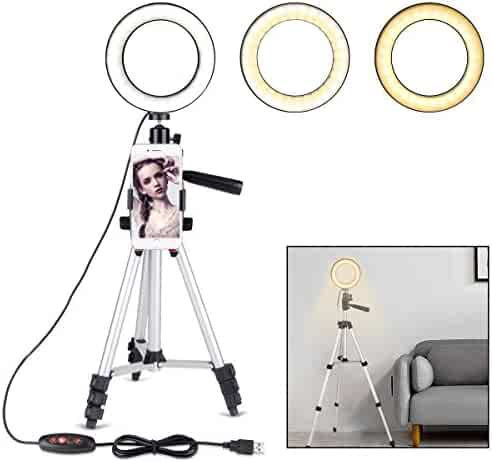 "B-Land 5.7"" Ring Light with Tripod Stand for YouTube Video and Makeup, Mini LED Camera Light with Cell Phone Holder Desktop LED Lamp with 3 Light Modes & 11 Brightness Level"