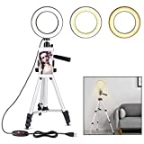 B-Land 5.7'' Ring Light with Tripod Stand for YouTube Video and Makeup, Mini LED Camera Light with Cell Phone Holder Desktop LED Lamp with 3 Light Modes & 11 Brightness Level