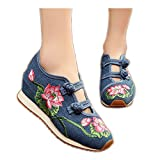 Womens Canvas Lotus Embroidered Cloth Shoes Increased Flats Casual Walking Sneakers Fashion Traveling Shoes Blue,8 B(M) US