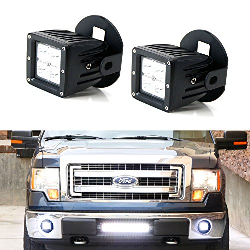 iJDMTOY Complete 40W High Power CREE LED Fog Light Kit w/ Foglamp Location Mounting Brackets, Wiring For 2006-2014 Ford F-150, 2011-2014 Lincoln Mark LT