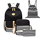 4pcs Canvas Backpack Cute Lightweight Teen Girls Backpacks School Shoulder Bags Backpack Set Alando(Stripe Black)
