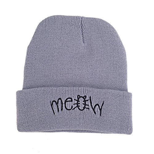 Beanie Hat for women, Winter Hip Hot Knit Cap Beanie Skull Hats for women/girls/teens - Cute Hats with letter 'Meow' - Grey Crochet Slouchy Hip-pop Hat