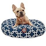 Navy Blue Links Small Round Indoor Outdoor Pet Dog Bed With Removable Washable Cover By Majestic Pet Products