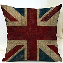 CBOutletArt Old World Retro Country Rustic -[British Union Jack Flag] Cotton Linen Decorative Throw Pillow Case Cushion Cover 18*18 Inch b:17