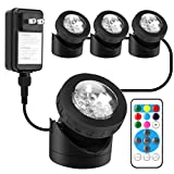 Pond Lights Remote Control Submersible Lamp [Set of 4] IP68 Underwater Aquarium Spot light 48-LED Multi-color with Timer Setting Decoration Landscape Lamp for Swimming Pool Fish Tank Fountain Water