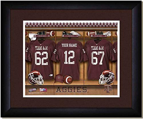 (Texas A&M Aggies University Football Team Locker Room Personalized Jersey Officially Licensed NCAA Sports A & M Photo 11 x 14 Print)