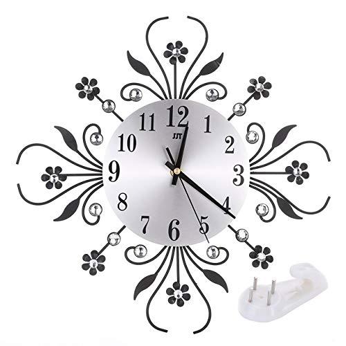 (Vintage Metal Art Crystal Sunburst Wall Clock Luxury Diamond Large Morden Wall Clock Clock Design Home Decor)