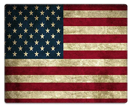 Meffort Inc Mouse Pad with Stitched Edges & Non-Slip Base, Smooth Silk Surface Gaming Mousepad - American Flag