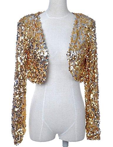 Vshop-2000 Women Clubwear Sparkly Sequin Long Sleeve Shrug Cardigan Jacket
