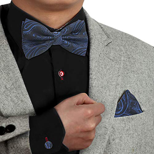 Dan Smith DBC3B01L Black Blue Patterned Online Shopping For Work-Utility Microfiber Pre-tied Bow Tie Hanky Cufflinks