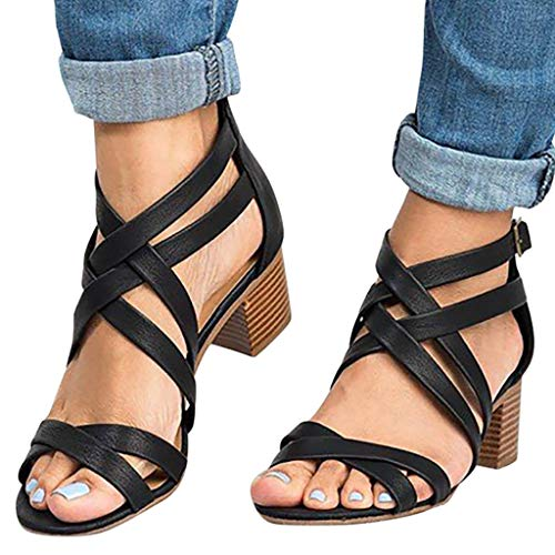 Sanyyanlsy Woman Gladiator Cross Band Cover Heel Sandals Square Mid Heel Sandals Zipper Buckle Strap Summer Beach Wear Black