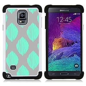 """Samsung Galaxy Note 4 IV / SM-N910 - 3 en 1 impreso colorido de Altas Prestaciones PC Funda chaqueta Negro cubierta gel silicona suave (Patrón gris del trullo verde a cuadros de la hoja"""")"""