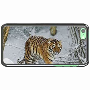 iPhone 5C Black Hardshell Case tiger snow walk predator Desin Images Protector Back Cover