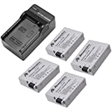 Powerextra 4 pack Replacement Canon LP-E8 Battery For Canon Rebel T5i T4i T3i T2i DSLR Digital Camera With Charger for Canon LP-E8 Replacement of LC-E8E