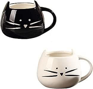 OliaDesign Cat Mug Ceramic Cat Mug Set, Black and White