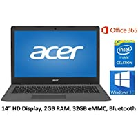 Acer Aspire One 14-Inch Cloudbook Laptop PC, Intel Celeron Dual-Core Processor, 2GB Memory, 32GB eMMC, Up to 12 hrs Battery Life, Windows 10, 1 Year Office 365