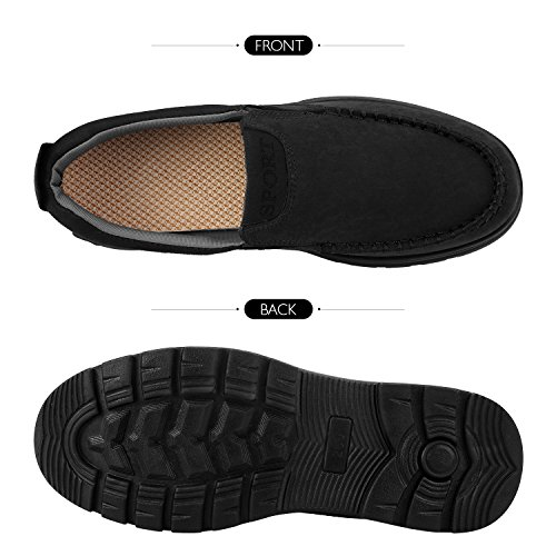 Sibba Mens Classic Slip-On Loafer Summer Boat Shoes Casual Shoes Black Qsk3dsq