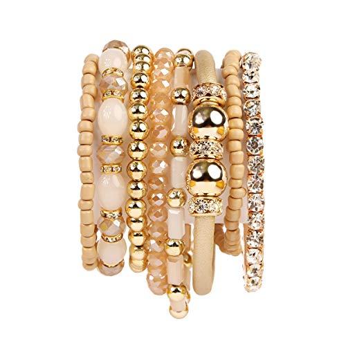(RIAH FASHION Multi Layer Strand Sparkly Stack Bracelets - Rhinestone Crystal Colorful Beaded Statement Stretch Adjustable Bangle Set (Leatherette Mix - Light Brown))