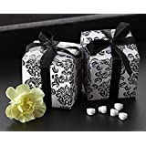 Artisano Designs Classic Damask Favor Box, Black and White, 24-Pack by Artisano Designs