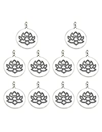 10PCS Alloy Double-Sided Lotus Flower Pendants Charms DIY Jewelry Making Accessory for Necklace Bracelet (Antique Silver)