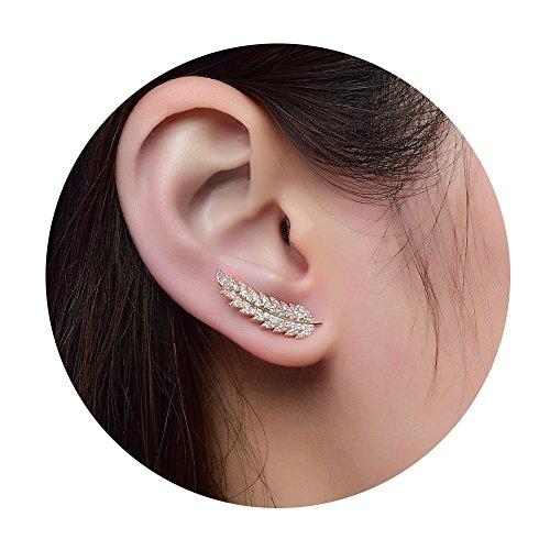 Ear Crawler Earrings for Women Ear Climber Cuff Earrings Rose Gold Leaf CZ by DIDa