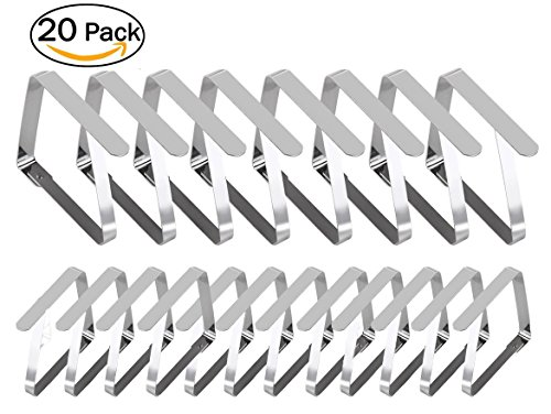 Tablecloth Holders Clips, 8 Large & 12 Standard Sized Table Cover Clamps, Stainless Steel Clip | Durable, Windproof, Rust-Free (20 Pcs, Mixed) by YouTensils