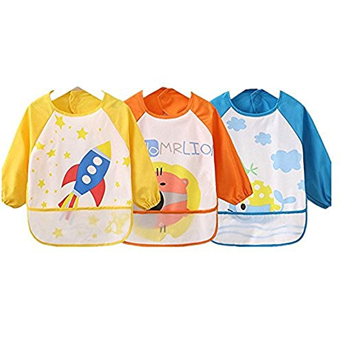 - 4G-Kitty Waterproof Bib with Sleeves&Pocket, Unisex Kids Childs Arts Craft Painting Apron 6-36 Months 3pcs (C)