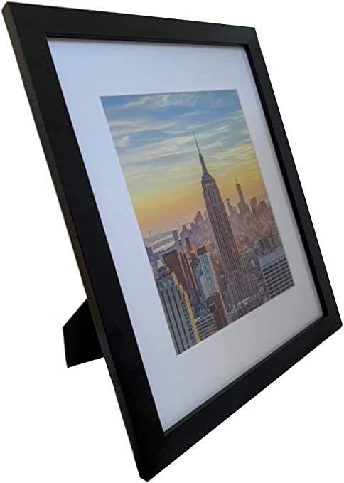 Amazon Com Frame Amo 11x14 Black Picture Frame White Mat For 8x10 Image 1 Inch Border Glass Front For Wall Or Table 1